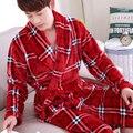 Flannel Bath Robe plaid Robes For Man Dressing Gown Warm Bathrobe Coral Fleece men Bathrobe Peignoir Femme Bain Robes XXXL