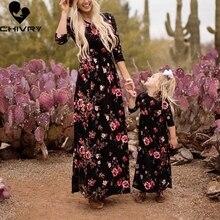 Новые платья для мамы и дочки; длинное платье без рукавов с цветочным рисунком; одежда для мамы и дочки; платье для мамы и дочки; Семейные комплекты