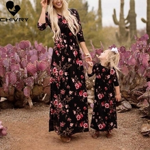 New Mother Daughter Dresses Sleeveless Floral Long Dress Clothes Mom and Family Matching