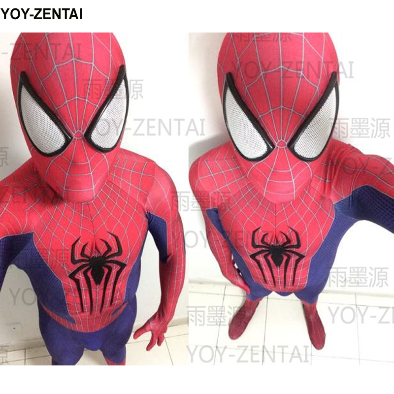 Movie Coser Custom Made High Quality Embossed Spider <font><b>Amazing</b></font> <font><b>Spider-Man</b></font> <font><b>Costume</b></font> For <font><b>Men</b></font> Spiderman Suit Adult Spiderman <font><b>Costume</b></font>