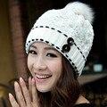 Мода женщины Hat падение зимние 7 цвет свободного покроя шапочка Snapback Hairball шляпы теплый уха защиты шерсть шляпа добычу Cap