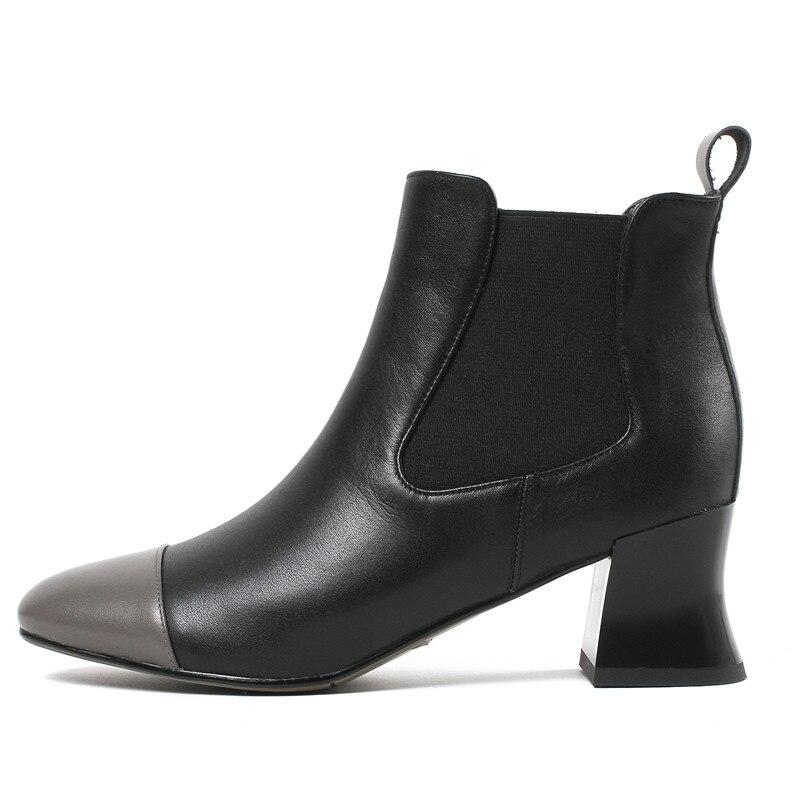 Cuir Enmayer Carrés De Bout black Cr1006 Bottines Talons En Marque Moto 2018 Apricot Femmes Sur Chaussures Rond Courtes Véritable Glissement Bottes rXrFq