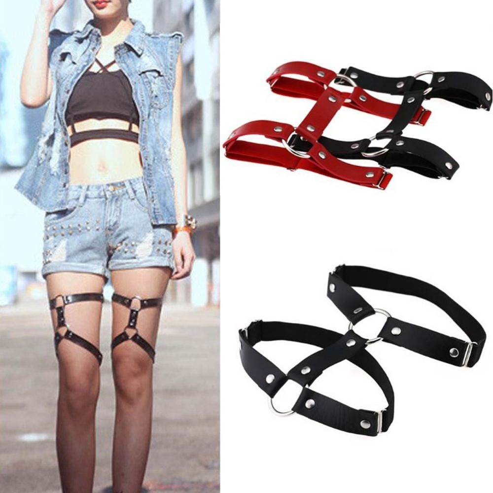 Women's Intimates Fashion Sexy Adjustable Harajuku Style Pu Leather Garter Belt Suspenders Leg Ring Gifts Free Size Women Accessories