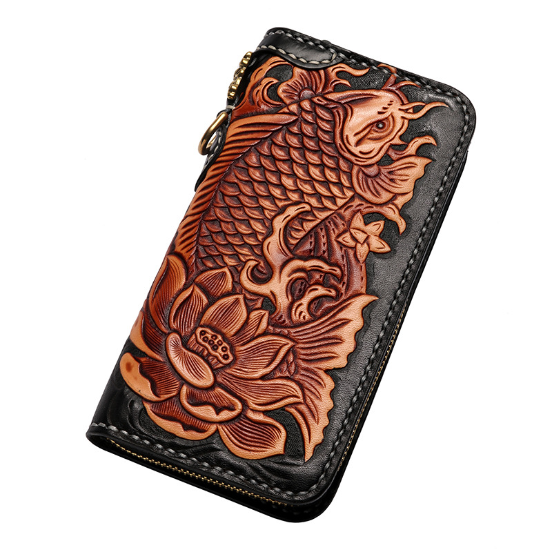 Genuine Leather Wallets Carving Carp Lotus Hand Sewing Zipper Bag Purses Women Men Long Clutch Vegetable Tanned Leather Wallet luxury brand vintage handmade genuine vegetable tanned cow leather men women long zipper wallet purse wallets clutch bag for man