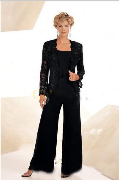 High Quality Three Piece Black Chiffon Mother Of The Bride