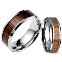 Men's Women's Fashion Creative Wide Band Wood Titanium Steel Ring Size 6-12