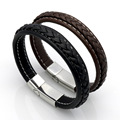 fashion jewelry supply woven leather bracelet Stainless Steel gold love bracelet weaving pure hand knit wrist strap wholesale