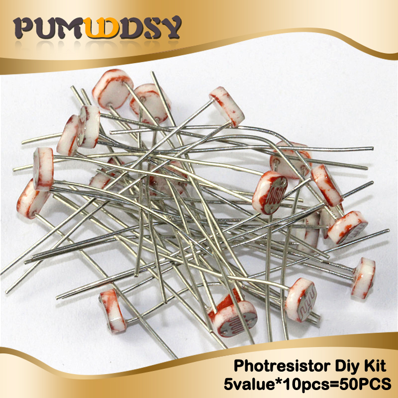 50pcs(5value*10pcs) LDR Photoresistor Diy Kit For GL5506 GL5516 GL5528 GL5537 GL5539 Free Shippng