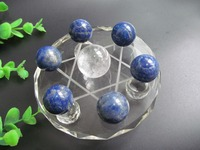 Natural Lapis Lazuli Crystal Ball Seven Array Decoration Feng Shui ball Reiki Healing Wholesale + 8CM Stand