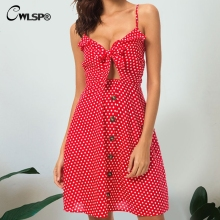 CWLSP Backless Polka Dot Red Dress for Women Front Bow Summer Mini dress Strap dresses Sexy Party vestidos robe femme QL3752