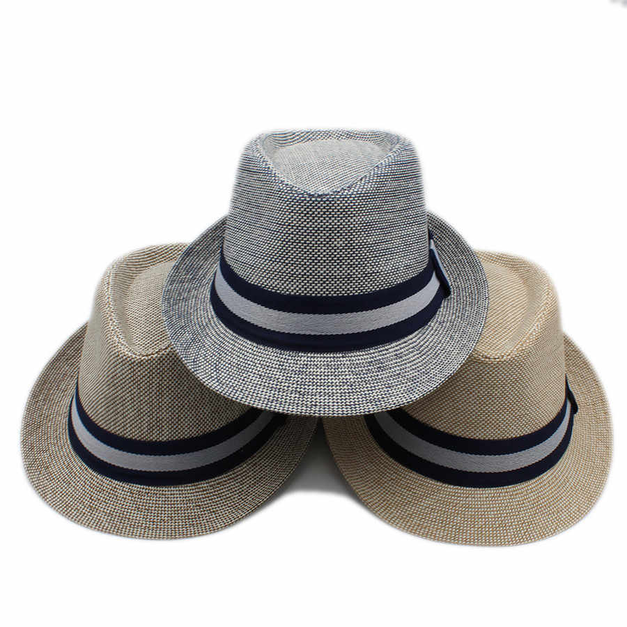 Thời trang Mùa Hè Phụ Nữ Người Đàn Ông Linen Bãi Biển Nón Rơm Cứng Sun Hat Đối Với Phụ Nữ thanh lịch Gangster Trilby Fedora Cap Quý Ông Cha Du Lịch Panama Hat