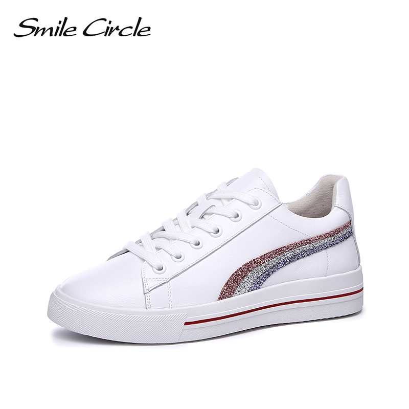 Smile Circle White Sneakers For Women Genuine Leather Lace-up Flats Shoes 2018 Ladies Sneakers Fashion Casual Shoes Girls smile circle genuine leather sneakers women lace up flat shoes women comfortable air cushion sneakers 2018 casual shoes