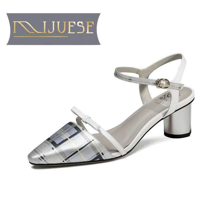 MLJUESE 2018 women sandals Genuine leather ankle strap pointed toe silver color high heels pumps shoes women size 33-43 women office shoes solid color fashion pointed toe stiletto high heels elastic band ankle strap slingback sandals pumps leather