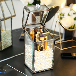 Image 5 - Copper glass makeup brush pearls cosmetics drawer holders copper bronze glass makeup brush holder cosmetic organizer drawer box