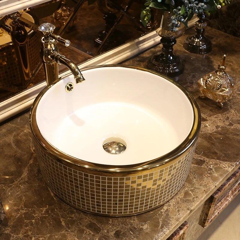 Western Antique Style Ceramic Colored Bathroom Luxury Basin Wash Bowl Sink Gold Mosaic Wash Basin Bathroom Sink Bathroom Sinks Aliexpress
