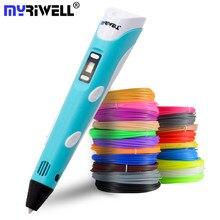 Myriwell caneta 3d, tela led, diy, caneta para impressão 3d, 100m, filamento abs, brinquedo criativo, presente para crianças, desenho