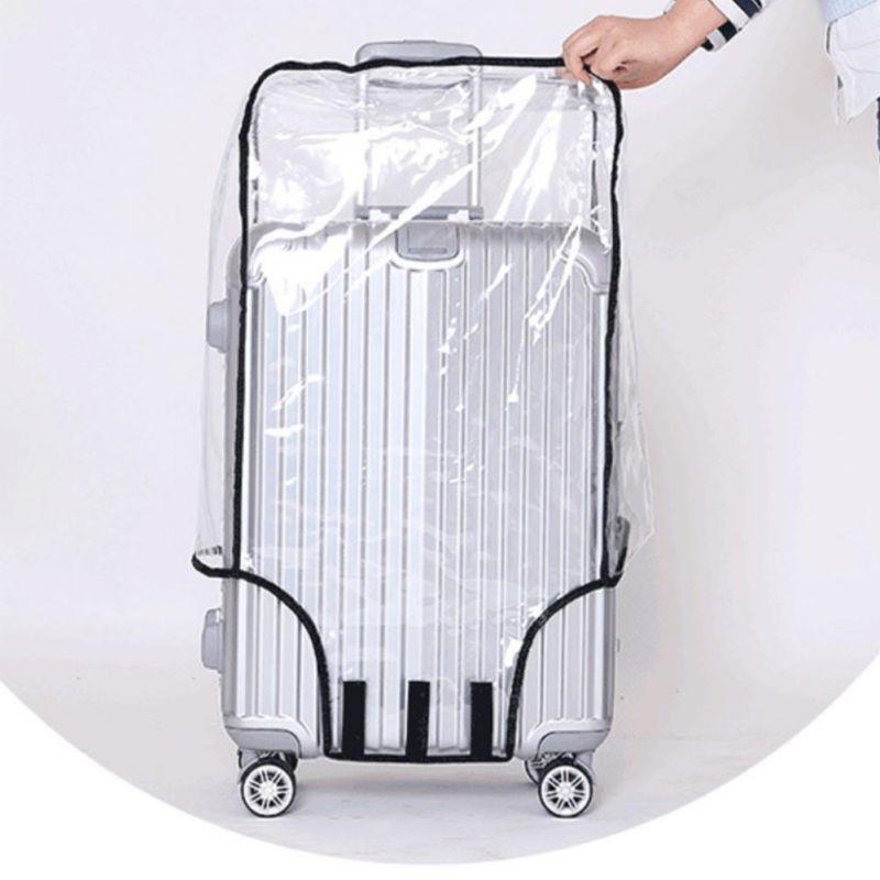 af78b87c6a3d7 Moda Su Geçirmez Toz Geçirmez Yağmur Kapak Temizle Bagaj Kapağı Seyahat  Bagaj Bavul Kapak 4 Boyut