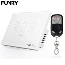 Funry ST2 US Standard 3Gang Remote Control Switch Luxury Wall Glass Panel Switch Led Touch Switch Surface Waterproof 110-240V