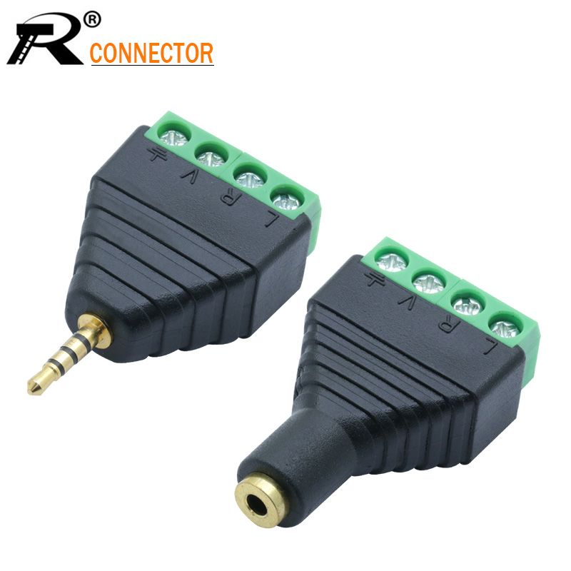 1set Male&Female Video AV Balun 2.5mm 4 Pole Stereo Male To AV Screw Terminal Stereo Jack 2.5mm Female 4 Pin Terminal Block