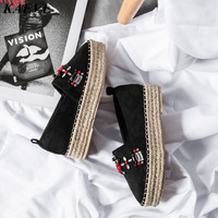 Kaeve/брендовые кроссовки; женская обувь на платформе; замшевые кожаные мокасины; Mujer; черные туфли на плоской подошве; удобные лоферы высокого