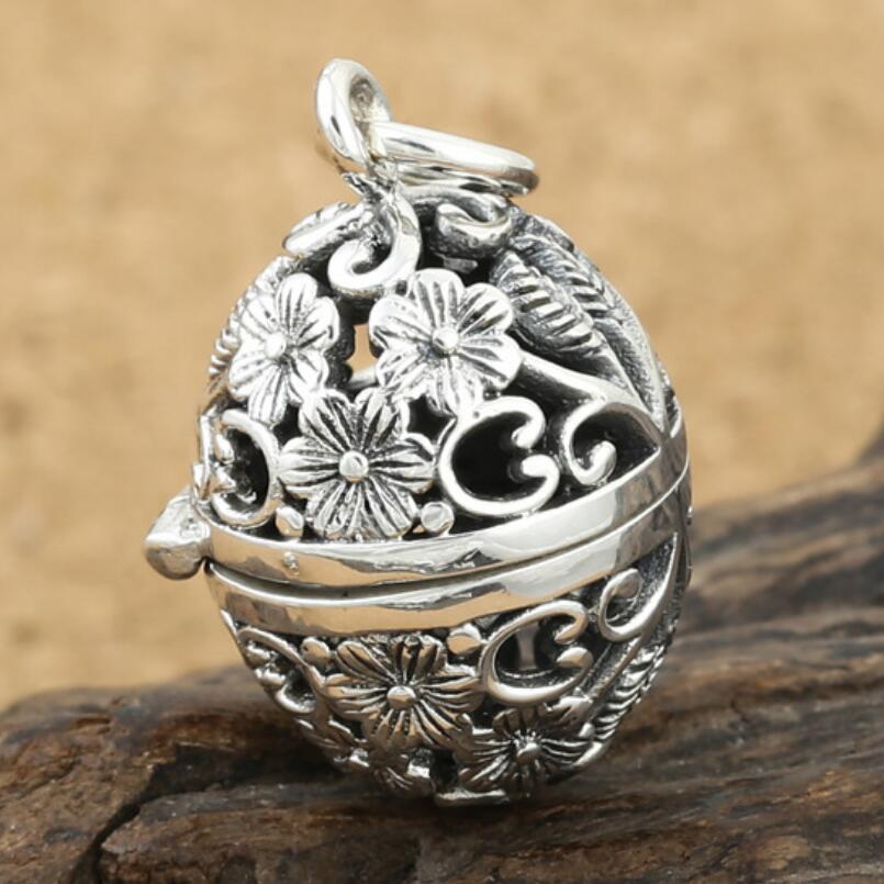 925 sterling silver jewelry hollow egg shaped pendant (FGL)