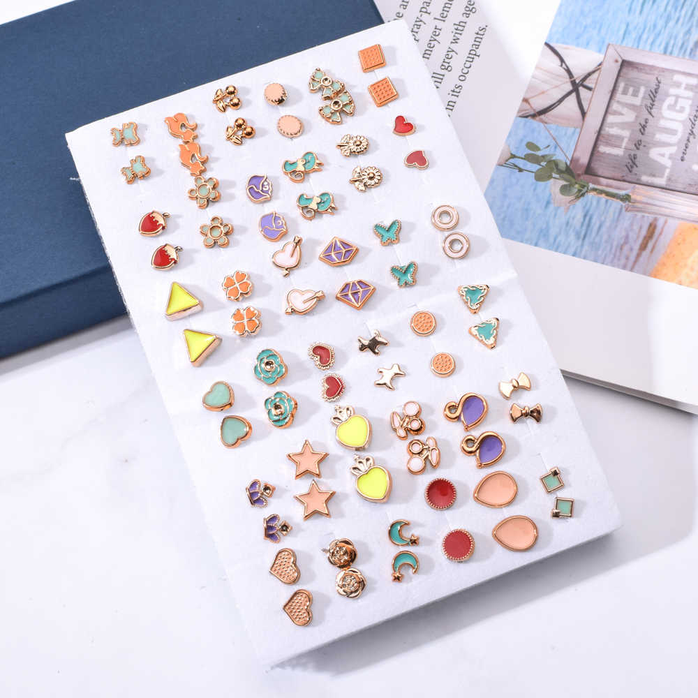 36pair/set Mix Style Gold Color Flower Stud Earring Set Enamel Crown Star Heart Earrings For Women Girl Fashion Party Jewelry