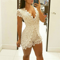 Bodycon Casual Womens Rompers Jumpsuit Hollow Out Solid Body Women V Neck Lace Short Sleeve Playsuit Women