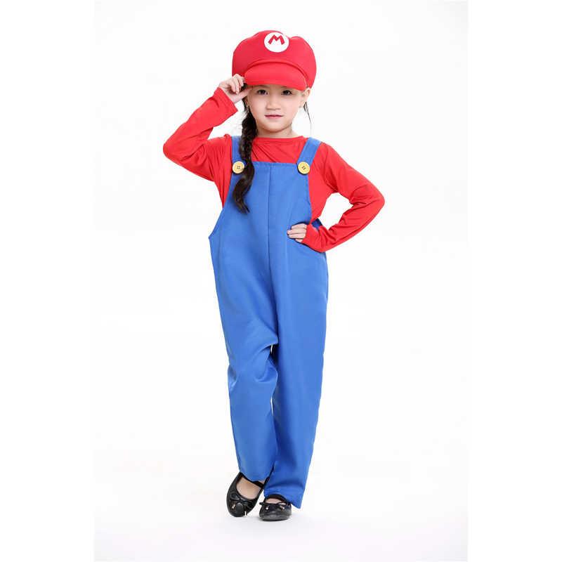 Child Super Workman Boys Costume Red Super Mario Plumber Fancy Dress Parties