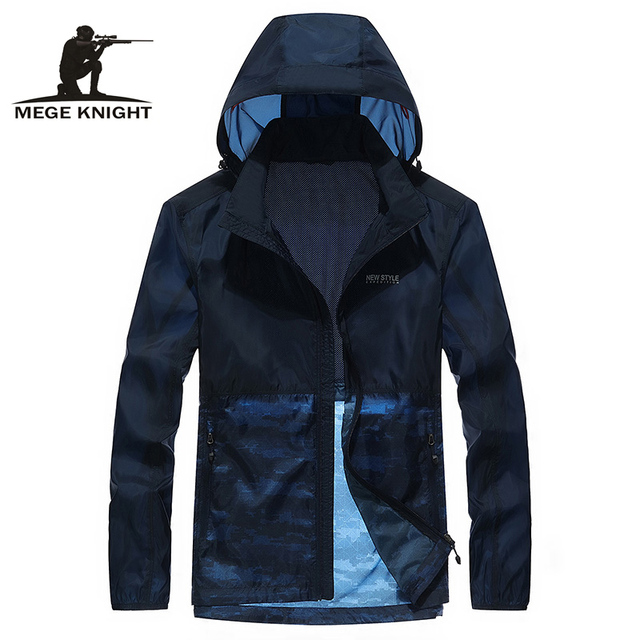 Mege Men's Summer Casual Jacket, Lightweight UV Protect Camouflage Windproof Skin Coat, Windbreaker Breathable Hooded Jacket