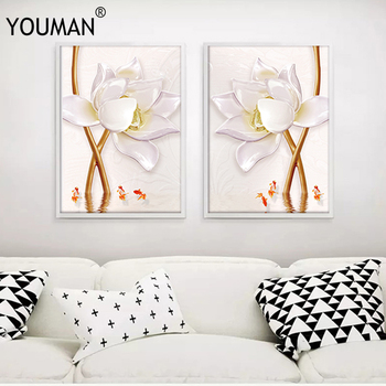 YOUMAN Nordic Posters White Lotus Flower Wall Art Canvas Painting Unframed And Prints Canvas Pictures For Living Room Posters top posters холст top posters 50х75х2см g 1044h