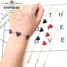 FAIRYWOO New Fashion Woman Tiny Sweet Heart Bracelets Handmade Miyuki Jewelry Delica Gifts For Kid Friendship Chain Bangles