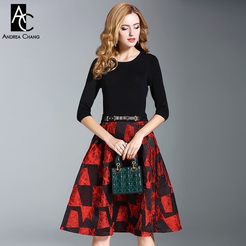 autumn winter woman dress black knitted top 3/4 sleeve gray red geometric pattern patchwork dress with belt over knee XXL dress