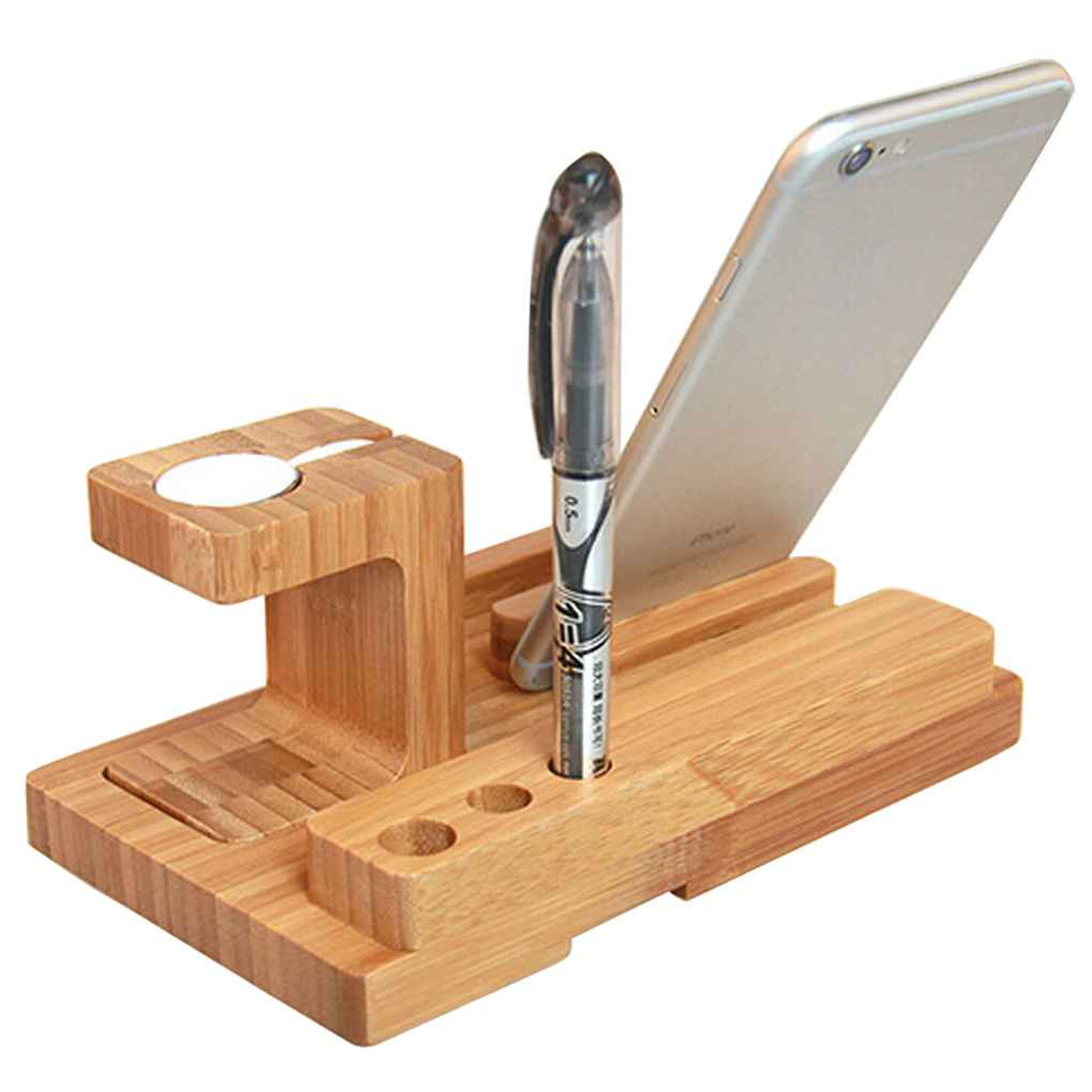 4 in 1 Holder for Apple Watch 38/42mm Bamboo Cradle Bracket Dock for Phones Business Card Pen Station Organizer 3