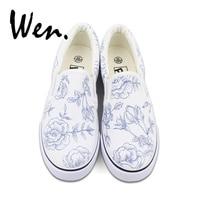 Vender Wen mujeres Slip on zapatos de lona vulcanizados diseño Original FLORES PLANTAS zapatos pintados a mano