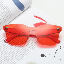 2019 New Ocean Color Sunglasses Women Transparent Gradient Rimless Shades for Pink Cat Eye Festival