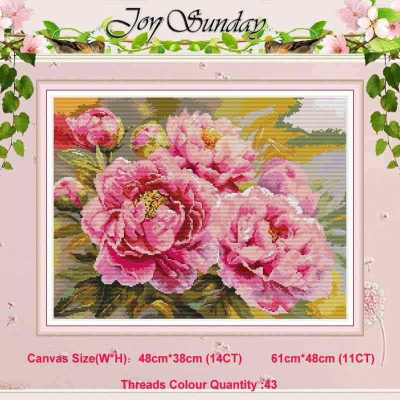 Beautiful pink peony flower counted 11CT 14CT Cross Stitch Set DIY DMC Chinese Cross-stitch Kit Embroidery Needlework Home Decor