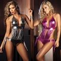 Mulheres sexy conjunto de lingerie babydoll sexy bling bling pu couro feminino selvagem sexy tentação uniformes traje halter lingerie erótica