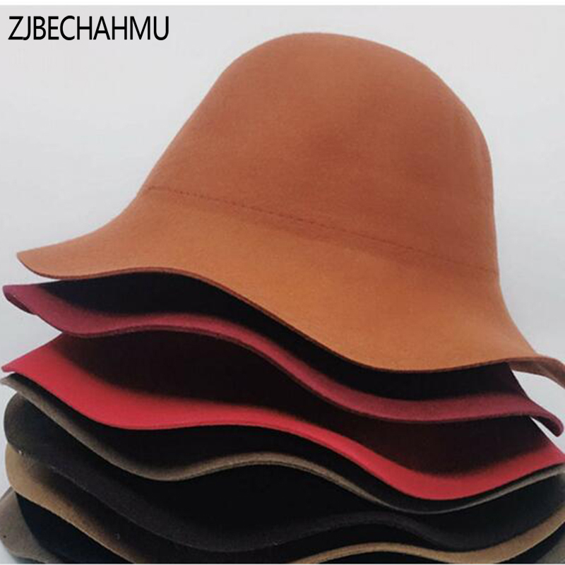 ZJBECHAHMU Hats Fashion Solid Wool aclassk Hat Fedoras For Women Girls Spring Autumn Euand American style Fedoras Snapback Hat