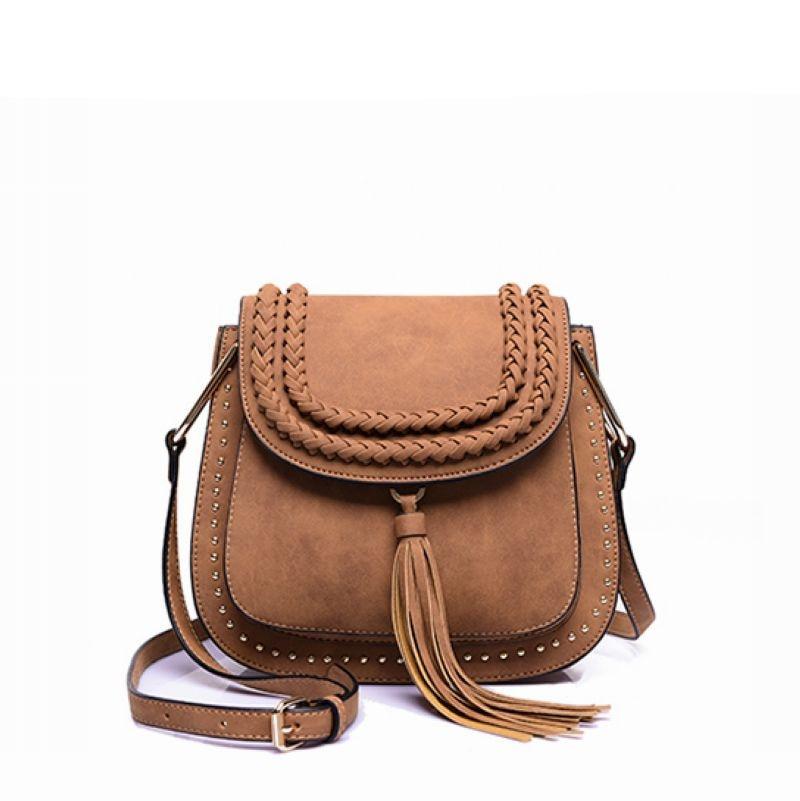 ФОТО Women Tassel Bag\Handbag Fashion Catwalk Shoulder bag Horseshoe Semicircle Messenger Bag Small Saddle Bag~13B59