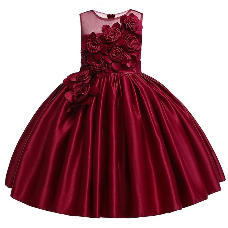 d2df000d62a2c 2019 زهرة فتاة اللباس ل فتاة 3D زهرة الحرير أكمام اللباس ل حفل زفاف أنيقة  الاطفال