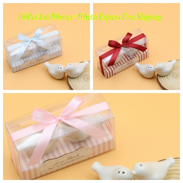 Perfect Wedding Gifts: 100pcs/lot(50Sets) Perfect Wedding Gift Favors Lovebirds