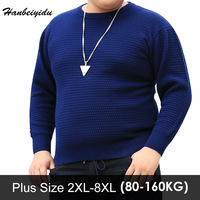 Winter Casual Blue Plus Size Men Sweater Long Sleeve Round Neck Cotton Pullovers Large Sizes Men's Jumper Mens Clothing Oversize