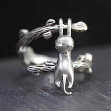 Lindo anillo de gato pequeño de moda Bohemia 925 anillo de compromiso abierto de plata anillos de boda Vintage para mujeres regalos del Día de San Valentín