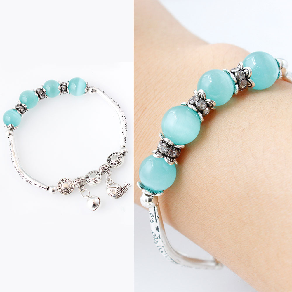 F&U Hot Selling Summer Bracelet Zinc Alloy Silver Color with Different Color of Beads Charm Bracelet for Girls Gift