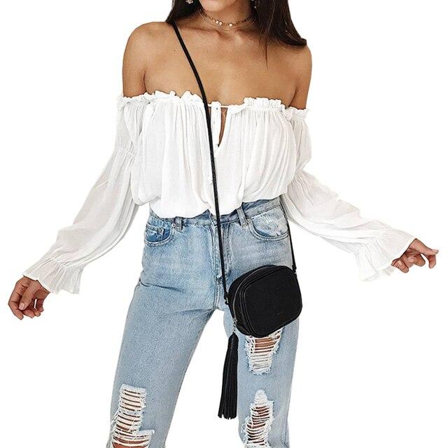 T-shirt das mulheres 2019 novo AliExpress best selling palavra ombro com babados praia capa Puff-manga laço chiffon vestidos HJY7602