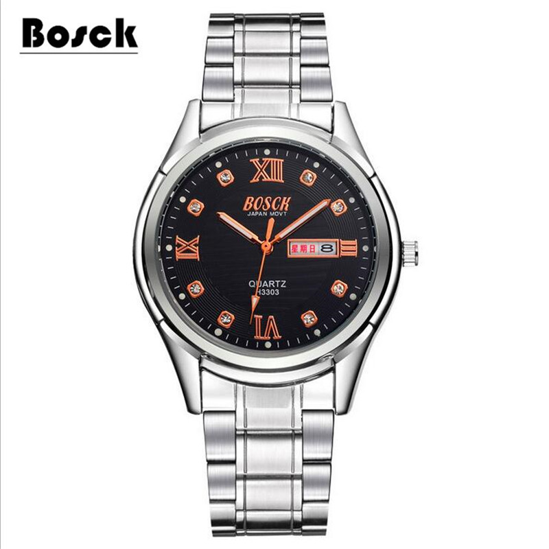 New Watch Men Dual Date Fashion Quartz Men Watches Top Brand BOSCK Wristwatch Male Reloj Hombre Orologio Uomo Relogio Masculino new watch men auto date business fashion quartz men watch top brand wristwatch male reloj hombre orologio uomo relogio masculino