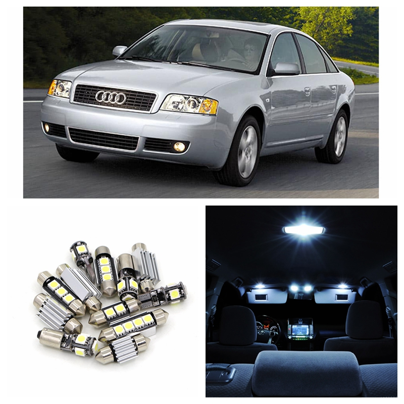19pcs White Canbus Car LED Light Bulbs Interior Package Kit For 1997-2004 Audi A6 C5 Avant Map Dome Door Vanity mirror Lamp 2pcs 12v 31mm 36mm 39mm 41mm canbus led auto festoon light error free interior doom lamp car styling for volvo bmw audi benz