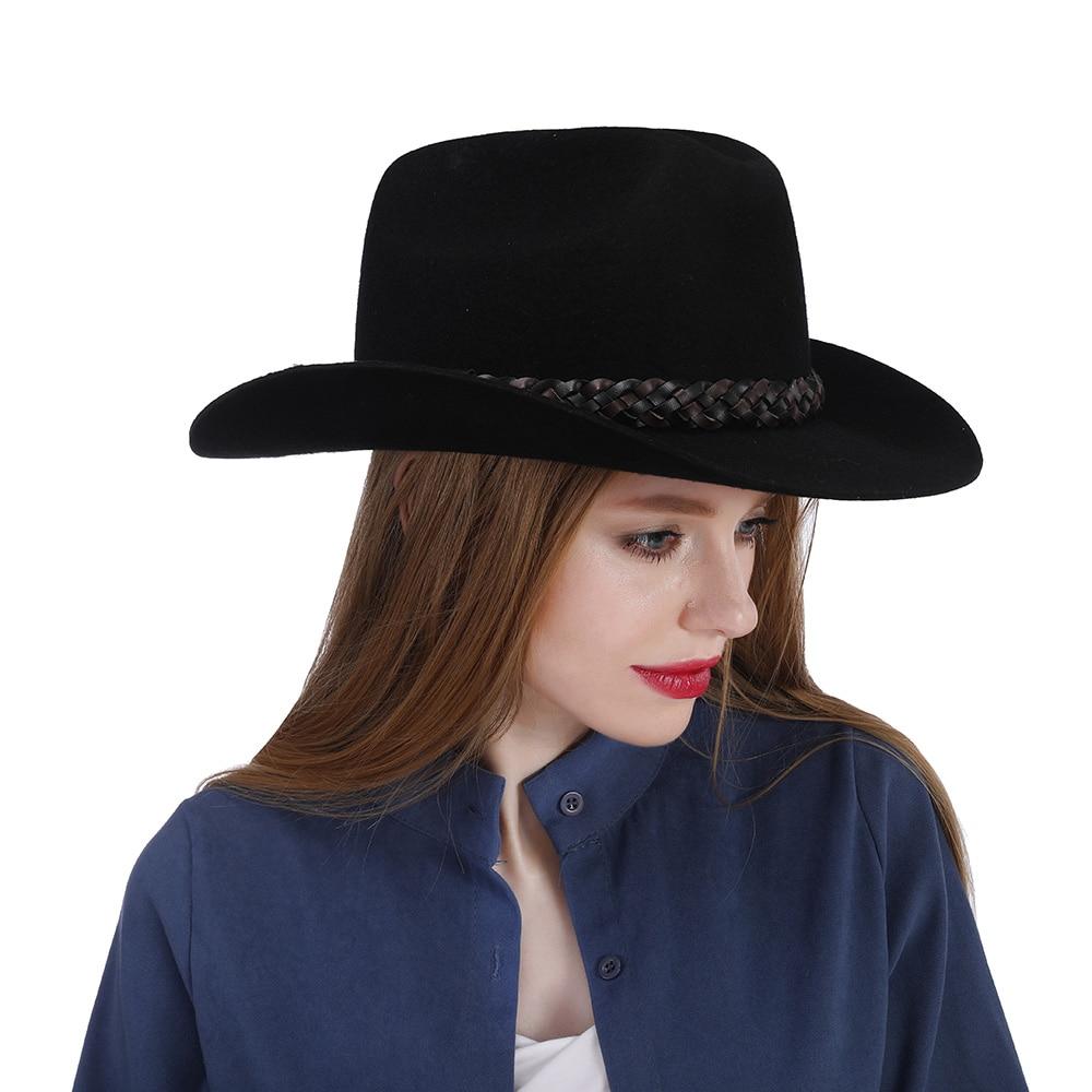 venta barata del reino unido gran venta Estados Unidos €26.4 40% de DESCUENTO 100% lana negro mujeres occidental Sombrero de  vaquero para otoño señora rollo hacia arriba Brim Sombrero con tamaño de ...