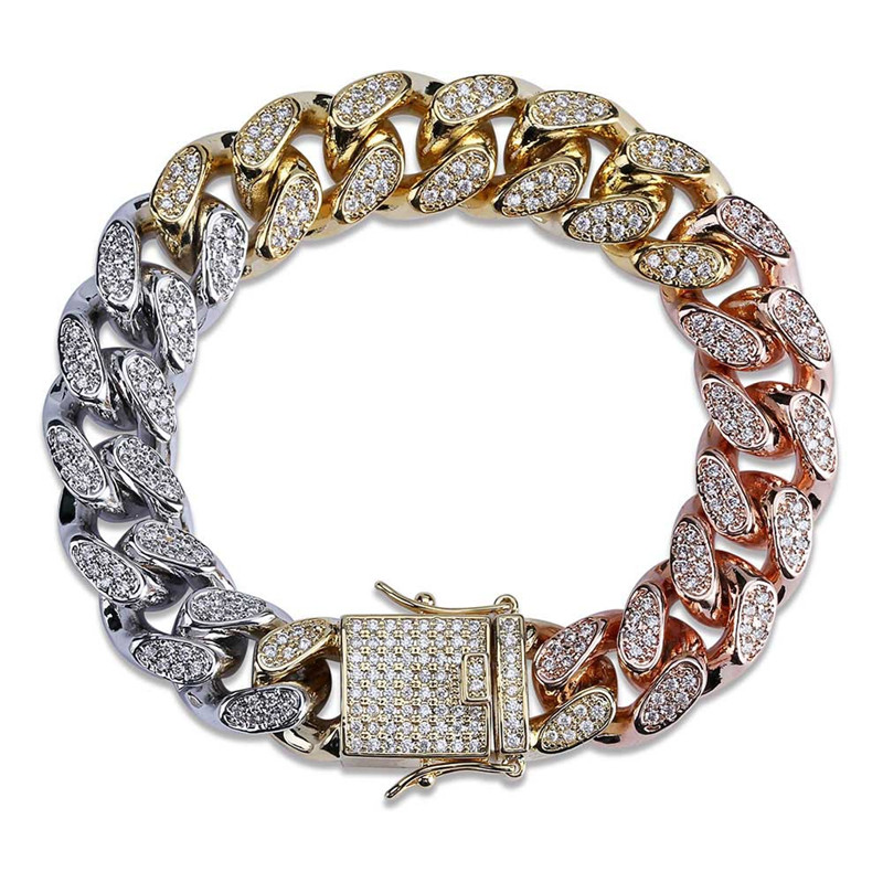 Iced Out Chain Bracelet for Men 3 Colors Miami Micro Pave Zircon Bracelets New Arrival Fashion