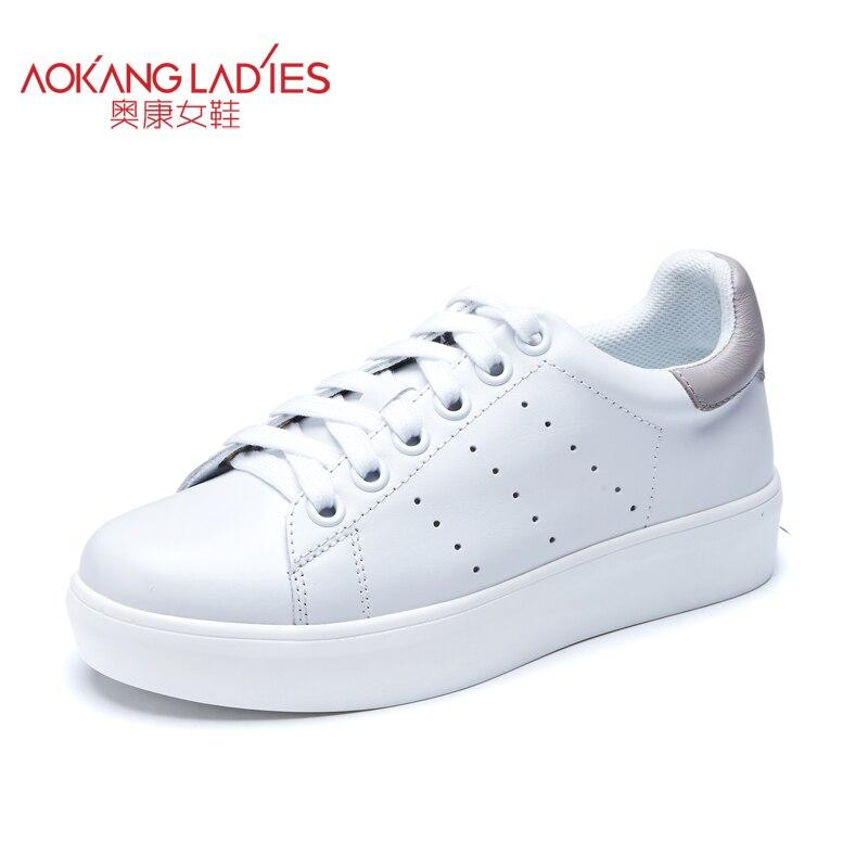 ФОТО AOKANG 2016 autumn New women white shoes Fashion Walking Casual Shoes mix color Comfortable real leather Deportivas Flats shoe